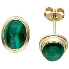Studs Earrings Earrings, Oval Malachite Green, 585 Yellow Gold Ladies