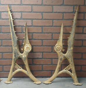 Antique 1800's Folding Schoolhouse Bench Cast Iron Legs by Thomas Kane #1 - Pair