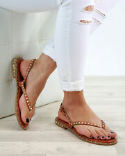 New Womens Low Heel Sandals Studs Toe Post Buckle Comfy Holiday Shoes Sizes 3-8
