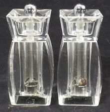 Mr. Dudley Salt & Pepper Grinder Shakers Clear Lucite Acrylic Vintage Retro