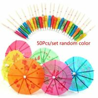 50 Mixed Paper Cocktail Umbrellas Parasols for Party Tropical Drinks Accessories