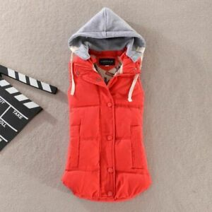 Ladies Hooded Winter Warm Down Vest Oversize Removable Hood Outwear Clothing New