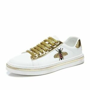 Luxury Men's Casual White Embroidered Shoes Men Skate Leather Golden Embroidery