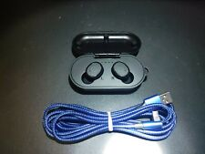 Tozo T10 Blue Waterproof totally wireless Bt headphones with charger