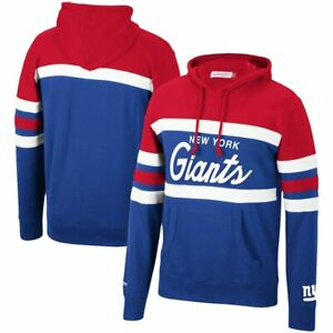 New York Giants Mitchell & Ness COACHES THROWBACK Pullover Hoodie- Red/Royal