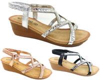 New Women Lady Sling Back Wedge Diamante Sandals Comfort Padded Insole Shoe siz