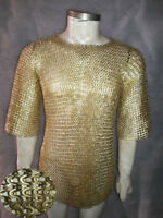 Brass  9mm  Large Size Chainmail Shirt Flat riveted With Warsar