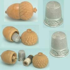 Antique Vegetable Ivory Acorn Sewing Kit & Sterling Silver Thimble * Circa 1880