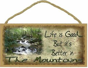 """Life Is Good But It's Better In The Mountains River Sign Plaque 5""""x10"""""""