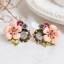 Boucles d'Oreilles Dormeuses Email Fleur Rose Gris Feuille Vert Class Vintage L1