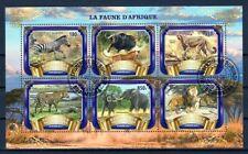 BURUNDI 2017 LA FAUNE D'AFRIQUE ANIMALS PANTHERA LEO ELEPHA RHINO STAMPS MNH CTO