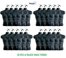 20 Male Mannequins - Lot of 20 Black Mens Torso Forms with 20 Hangers