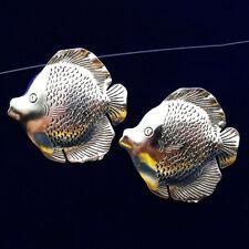 3Pcs Newest Carved Tibetan silver  Fish Pendant Bead 46x44x2mm dy88pj