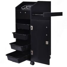 Salon Cart Beauty Equipment 4 Drawer Black Storage Hair Trlley Locking Black US