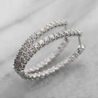 Elegant Hoop Earrings Women 925 Silver Jewelry White Sapphire Free Shipping