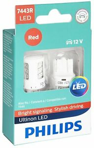2x Philips 7443 RED LED Bright Super 6000k Light bulbs Reverse Tail Brake bulb