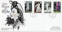 South Georgia & Sandwich Isl 2016 FDC Queen Elizabeth II 90 4v Set Cover Stamps