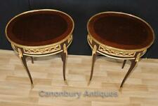 Pair French Empire Oval Side Tables Cocktail Table Parquetry Inlay