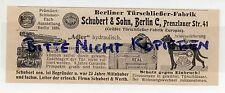 BERLIN, Werbung 1913 Schubert & Sohn Berliner Tür-Schliesser-Fabrik Tore Gatter