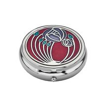 Large Pill Box Silver Plated Mackintosh Rose and Leaves Red Brand New & Boxed