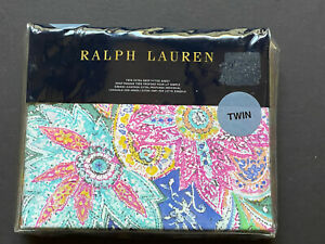 NEW RARE! RALPH Lauren FLYING POINT *TWIN EXTRA DEEP FITTED Sheet Paisley BRIGHT