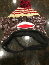 Shye Worldwide Sock Monkey Knit Hat Cap Beenie One Size Fits Most EUC