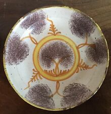 Antique Pottery Plate French Faience Tin Glaze 19th c Spongeware Delft Mochaware