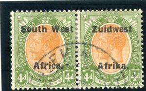 S.W.A. 1924 KGV 4d orange-yellow & sage-green bilingual pair VFU. SG 33. Sc 33.