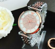 Women's Stainless Steel Dress Round Crystal Silver&Rose gold Wristwatch