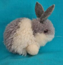 "1970's 3"" Steiff Mini Woolen Rabbit Gray and White - Excellent Condition"