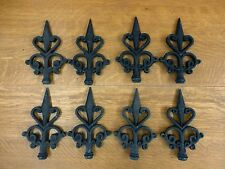8 Black Finial Fleur De Lis Cast Iron Embellishments garden gate fence decor art