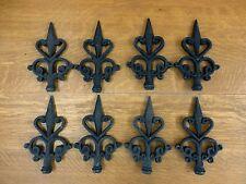New listing 8 Black Finial Fleur De Lis Cast Iron Embellishments garden gate fence decor art