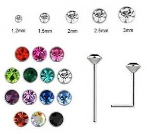 1x Nose Stud 925 Silver - 0.6mm Thin - BEND YOURSELF - Crystal Size 1.2mm - 3mm