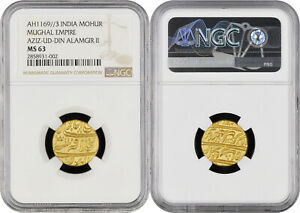 Mughal Alamgir II Dar ul-Khilafat Shahjahanabad Mint Gold Mohur NGC Graded MS 63