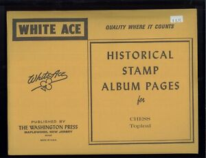 White Ace Historical Stamp Album Pages Chess Topical Blank Pages Pack of 12