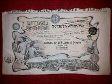S.A. PETROLI d'ITALIA  Certificato per 1 Az. 1906