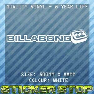 BILLABONG VINYL DECAL/STICKER (50cm, WHITE) SURF, SURFING
