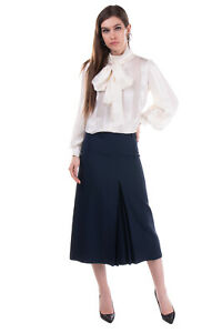 RRP €1855 LORO PIANA Silk & Wool A-Line Skirt Size 40 / S Pleated Made in Italy