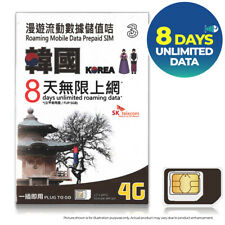 SOUTH KOREA 10GB 8 Days UNLIMITED DATA 3 THREE SK Telecom KT Prepaid SIM CARD