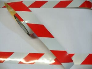 Self Distancing 10mtr Roll, Reflective White & Red or Yellow Chevron Vinyl Tape