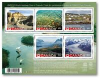 ca. UNESCO HERITAGE SITES in CANADA, HV Souvenir Sheet of 5, MNH Canada 2015 QP3