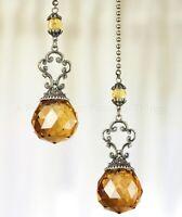 Set Of 2 Vintage Jeweled Fan Pulls - Amber