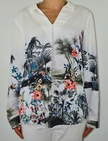 Phase Eight Top Blouse White Floral Summer Long Sleeve Autumn Office Size 16 AJ