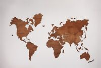 World Map Wood Wall Decor Home Decor Push Pins Wooden Map XL Size
