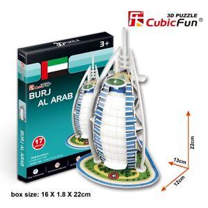World's Great Architecture Burj Al Arab 17 Piece 3D Model DIY Hobby Build Kit