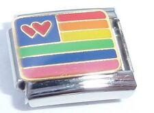 Bandera ARCO IRIS Italian Charm Orgullo Gay Corazones Amor se adapta Classic pulseras de arranque