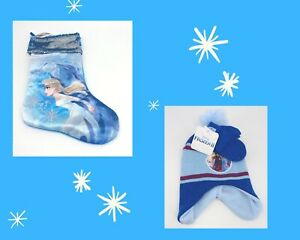 Frozen Christmas Bundle Elsa Stocking Toddler Hat and Mittens Gift Set NEW