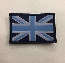 Union Jack Blue & White Badge TRF, Military, Army, Sleeve Patch, Hook Loop