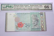 (PL) RM 50 ZA 0218676 PMG 66 EPQ MALAYSIA ZETI MERDEKA LOGO REPLACEMENT UNC