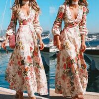 Women Summer Boho Floral Maxi Dress Beach Long Sleeve Deep V-neck Party Sundress